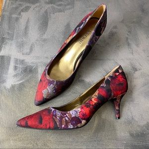 NWOB Nine West Floral Rose Print Margot Heel SZ 8